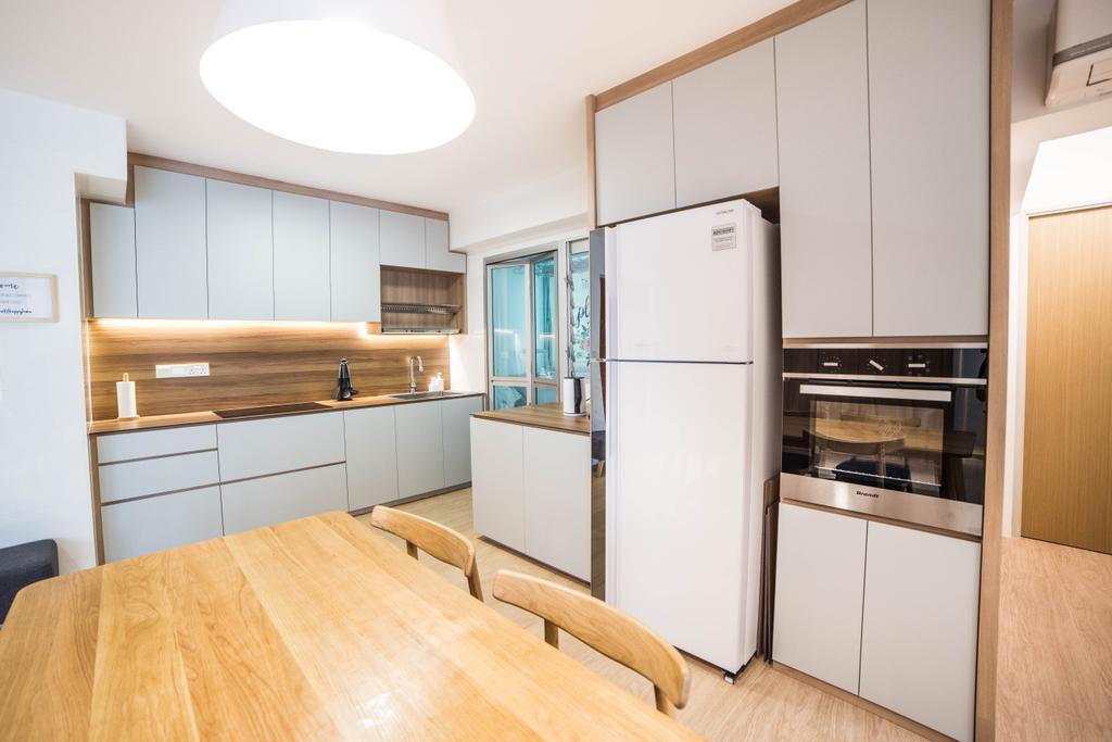 Scandinavian, HDB, Kitchen, Teck Ghee Parkview, Interior Designer, Luova Project Services, Minimalistic, Flooring, Plywood, Wood