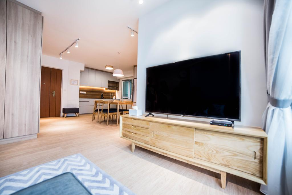 Scandinavian, HDB, Living Room, Teck Ghee Parkview, Interior Designer, Luova Project Services, Minimalistic, Hardwood, Wood, Electronics, Lcd Screen, Monitor, Screen