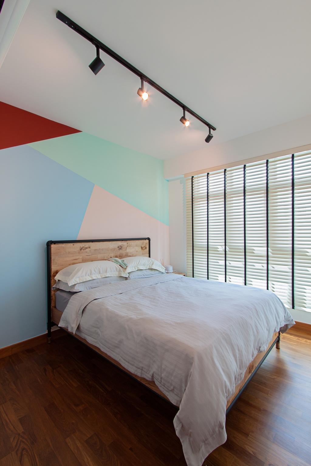 Modern, HDB, Bedroom, McNair Towers, Interior Designer, Luova Project Services, Industrial, Indoors, Interior Design, Room, Bed, Furniture