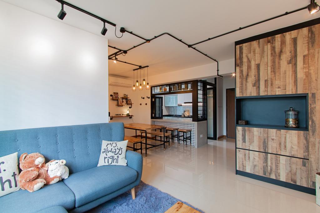 Modern, HDB, Living Room, McNair Towers, Interior Designer, Luova Project Services, Industrial, Couch, Furniture, Indoors, Interior Design, Electronics, Entertainment Center