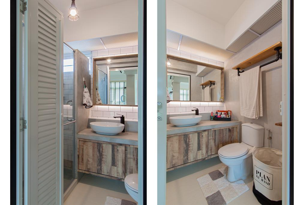 Modern, HDB, Bathroom, McNair Towers, Interior Designer, Luova Project Services, Industrial, Indoors, Interior Design, Room, Sink
