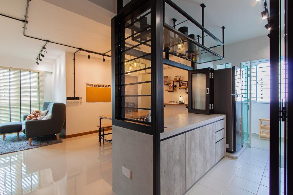 Modern, HDB, Kitchen, McNair Towers, Interior Designer, Luova Project Services, Industrial, Couch, Furniture