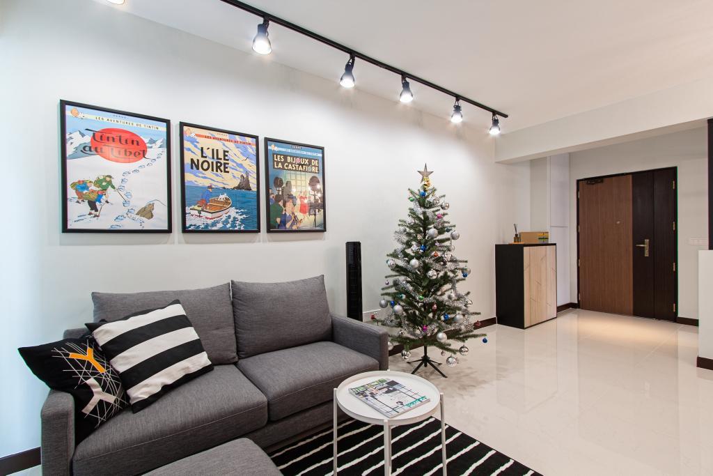 Minimalistic, HDB, Living Room, Compassvale Cape, Interior Designer, Luova Project Services, Couch, Furniture, Closet, Wardrobe, Coffee Table, Table, Indoors, Interior Design