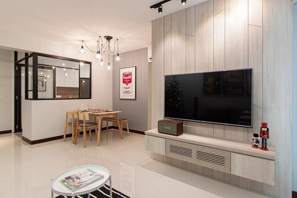 Minimalistic, HDB, Living Room, Compassvale Cape, Interior Designer, Luova Project Services, Dining Table, Furniture, Table