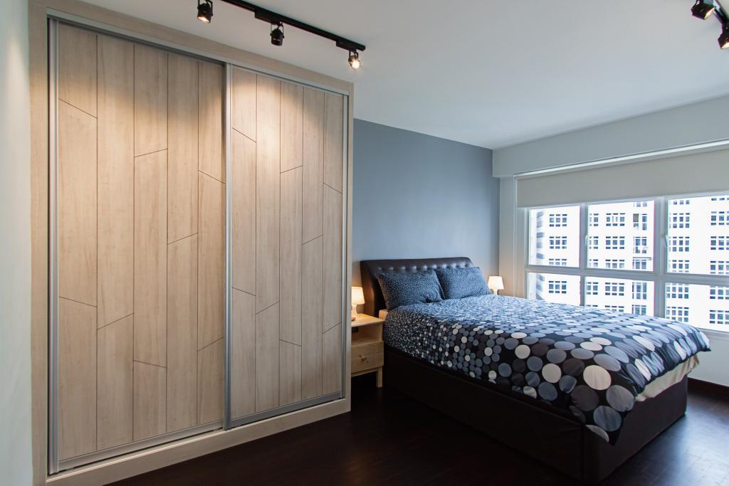 Minimalistic, HDB, Bedroom, Compassvale Cape, Interior Designer, Luova Project Services, Door, Sliding Door, Bed, Furniture, Indoors, Interior Design, Room