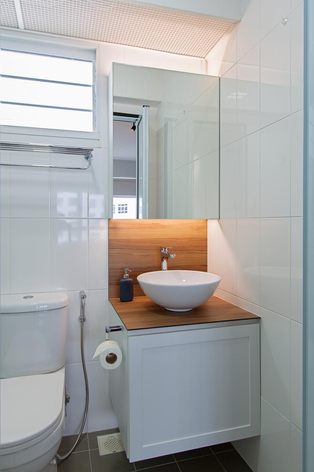 Minimalistic, HDB, Bathroom, Compassvale Cape, Interior Designer, Luova Project Services, Toilet, Indoors, Interior Design, Room