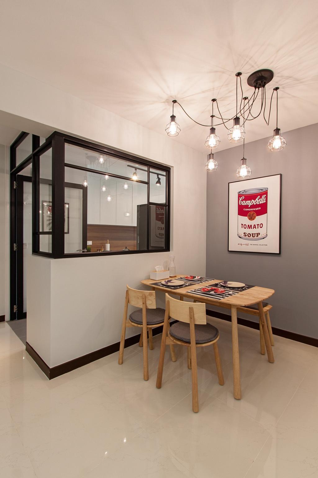 Minimalistic, HDB, Dining Room, Compassvale Cape, Interior Designer, Luova Project Services, Building, Housing, Indoors, Loft, Dining Table, Furniture, Table, Interior Design, Room