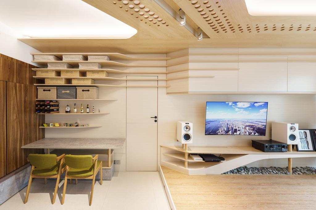 摩登, 私家樓, 客廳, 緻藍天, 室內設計師, MNOP Design, 當代, Indoors, Interior Design, Electronics, Lcd Screen, Monitor, Screen, Desk, Furniture, Table, Dining Table