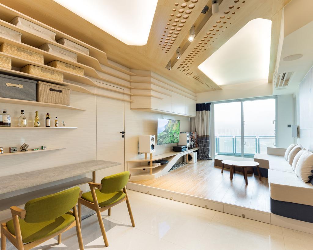 摩登, 私家樓, 客廳, 緻藍天, 室內設計師, MNOP Design, 當代, Chair, Furniture, Bed, Indoors, Interior Design, Bench, 飯廳, Room