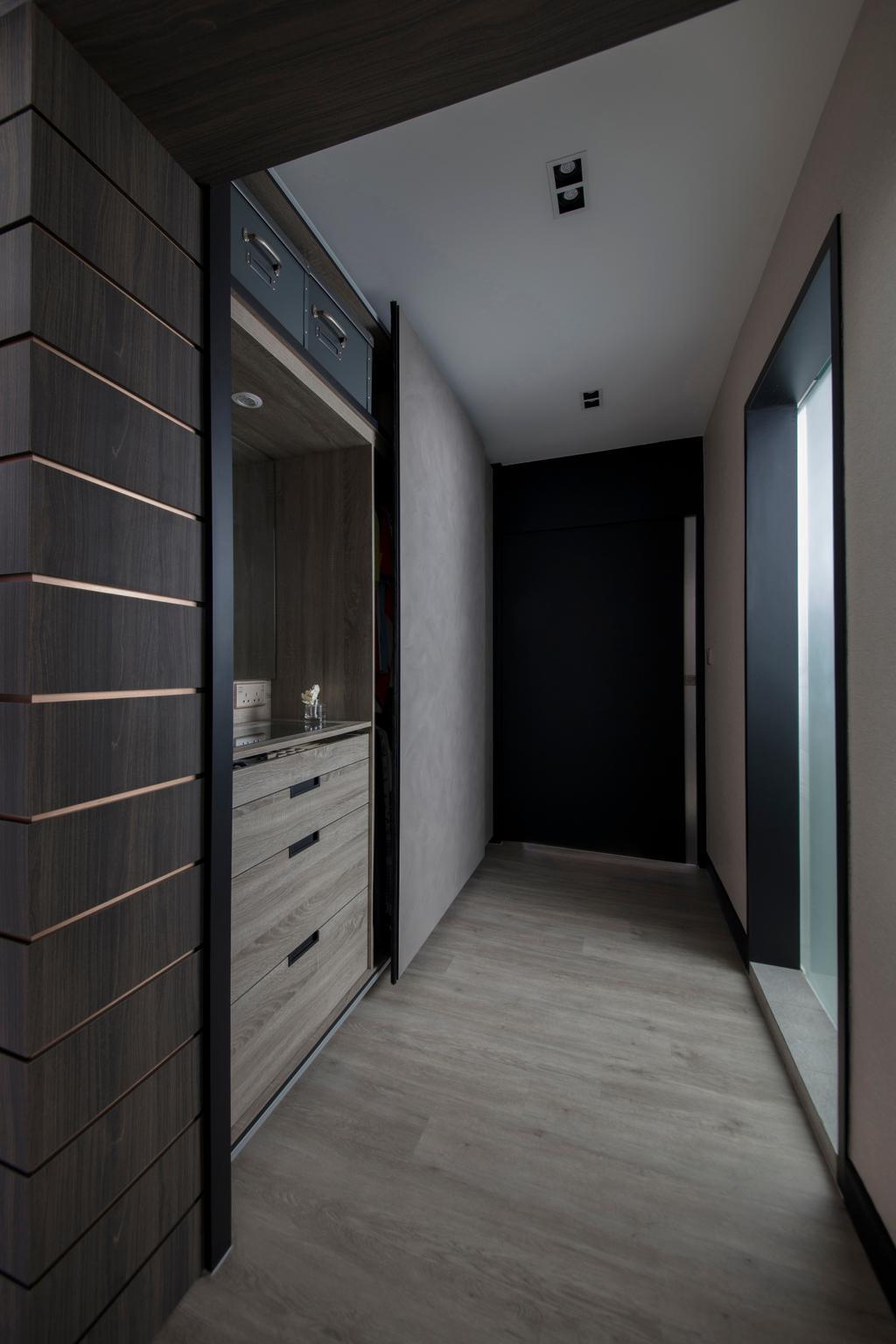 Modern, HDB, Bedroom, Punggol Drive, Interior Designer, KDOT, Contemporary, Wardrobe, Walk In Wardrobe, Corridor