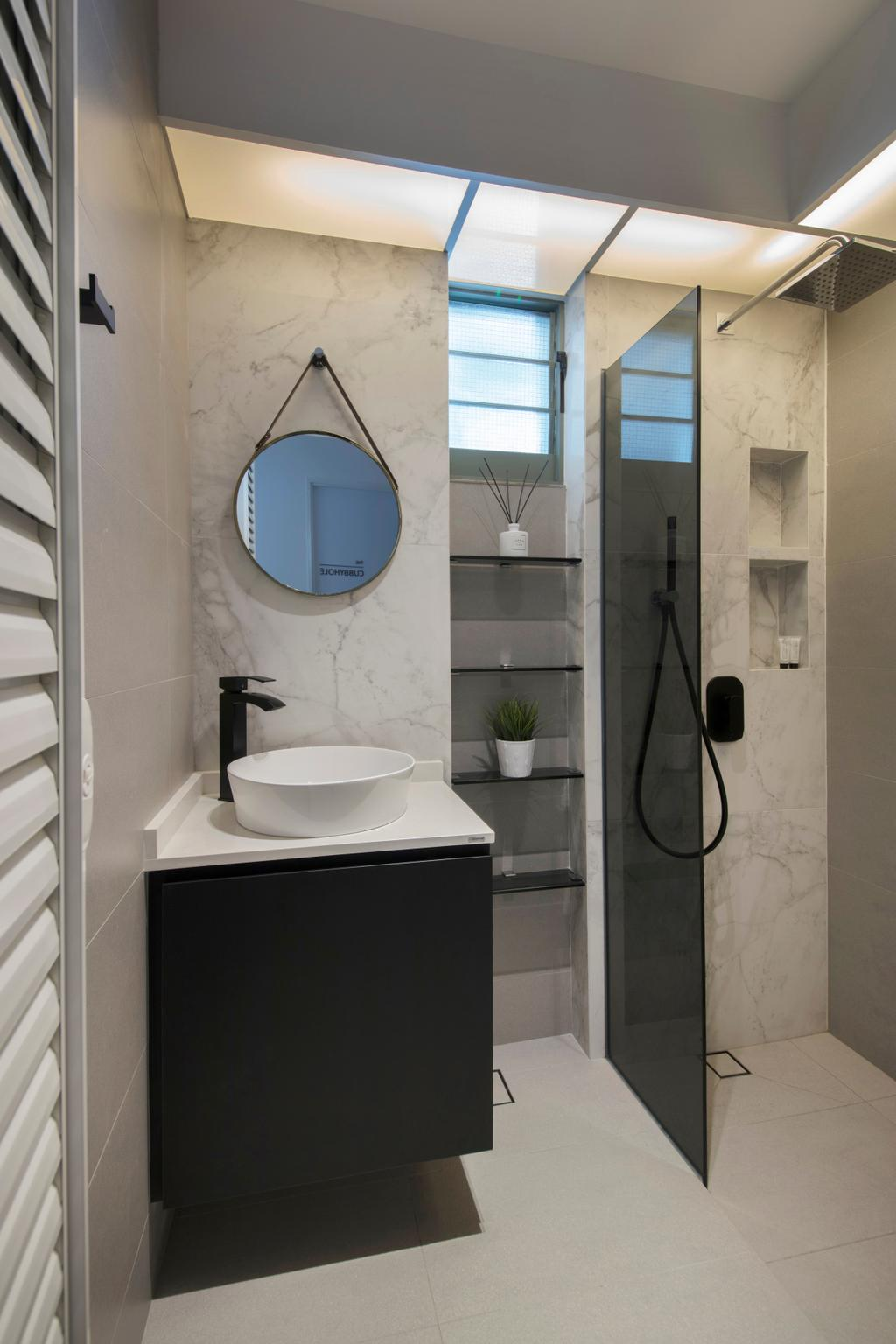 Modern, HDB, Bathroom, Punggol Drive, Interior Designer, KDOT, Contemporary, Flora, Jar, Plant, Potted Plant, Pottery, Vase, Indoors, Interior Design, Room