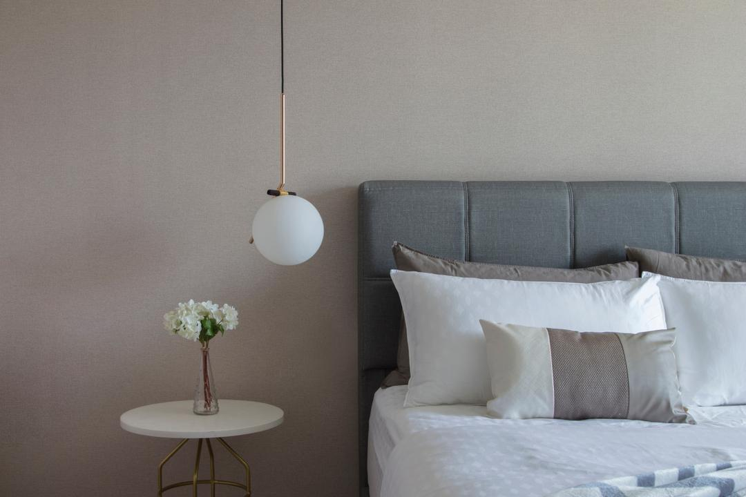 Punggol Drive, KDOT, Modern, Contemporary, Bedroom, HDB, Pastel, Muted Colours, Muted Tones, Light Fixture