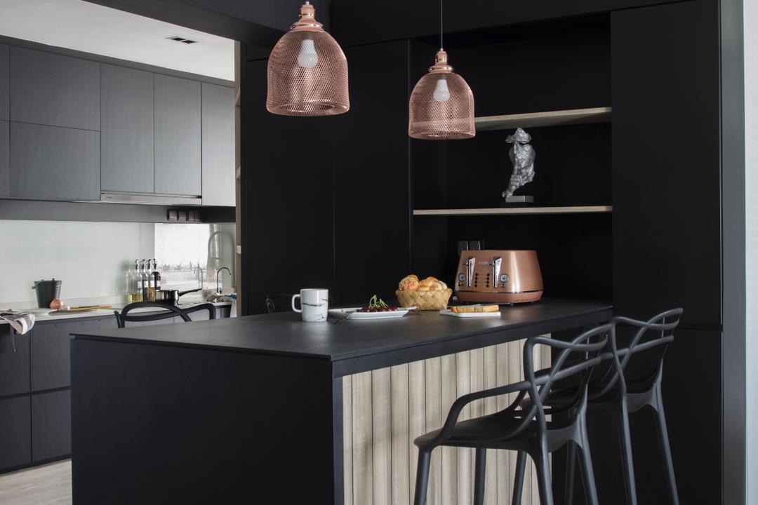 Punggol Drive, KDOT, Modern, Contemporary, Kitchen, HDB, Kitchen Peninsula, Kitchen Island, Bar Island, Sink, Indoors, Interior Design, Room, Dining Room, Lighting
