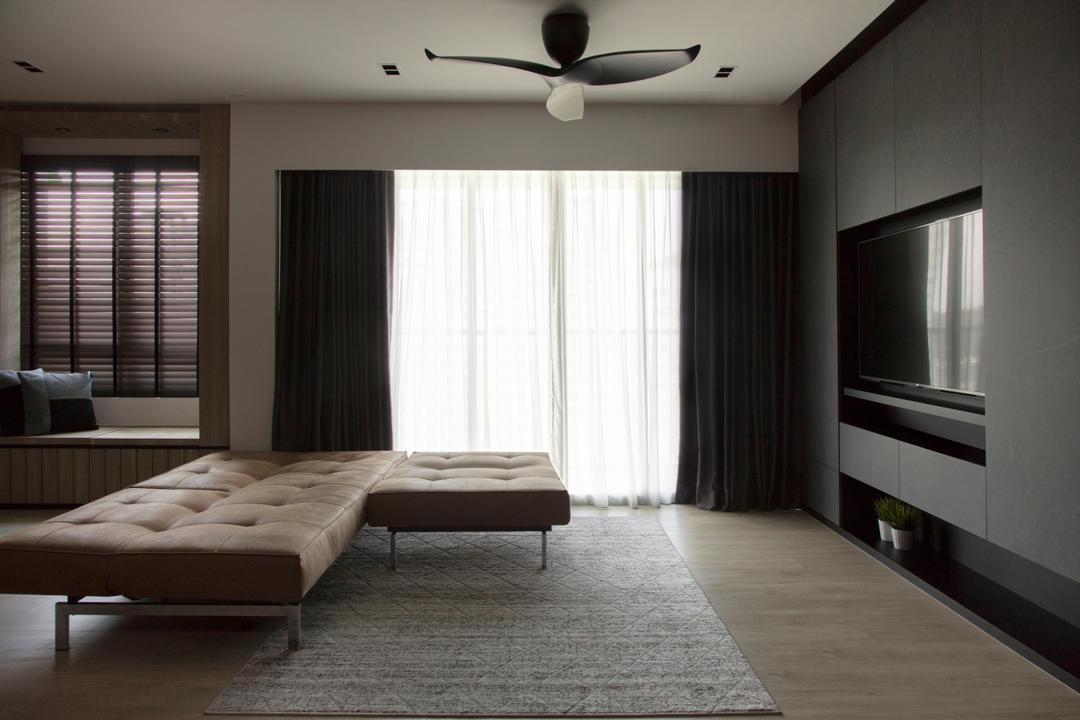 Punggol Drive, KDOT, Modern, Contemporary, Living Room, HDB, Curtain, Home Decor, Logo, Trademark, Flooring, Indoors, Room