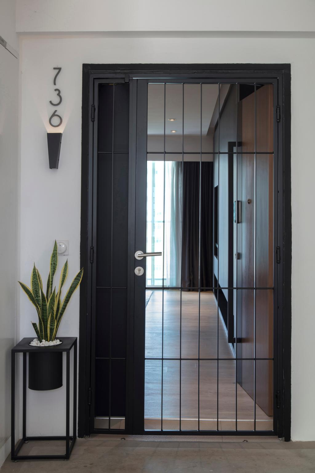 Modern, HDB, Punggol Drive, Interior Designer, KDOT, Contemporary, Gate, Corridor, Entrance, Door, Folding Door, Sliding Door