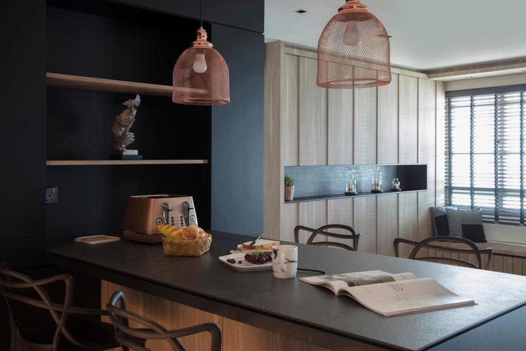 Modern, HDB, Punggol Drive, Interior Designer, KDOT, Contemporary, Human, People, Person, Lamp, Lampshade, Dining Room, Indoors, Interior Design, Room