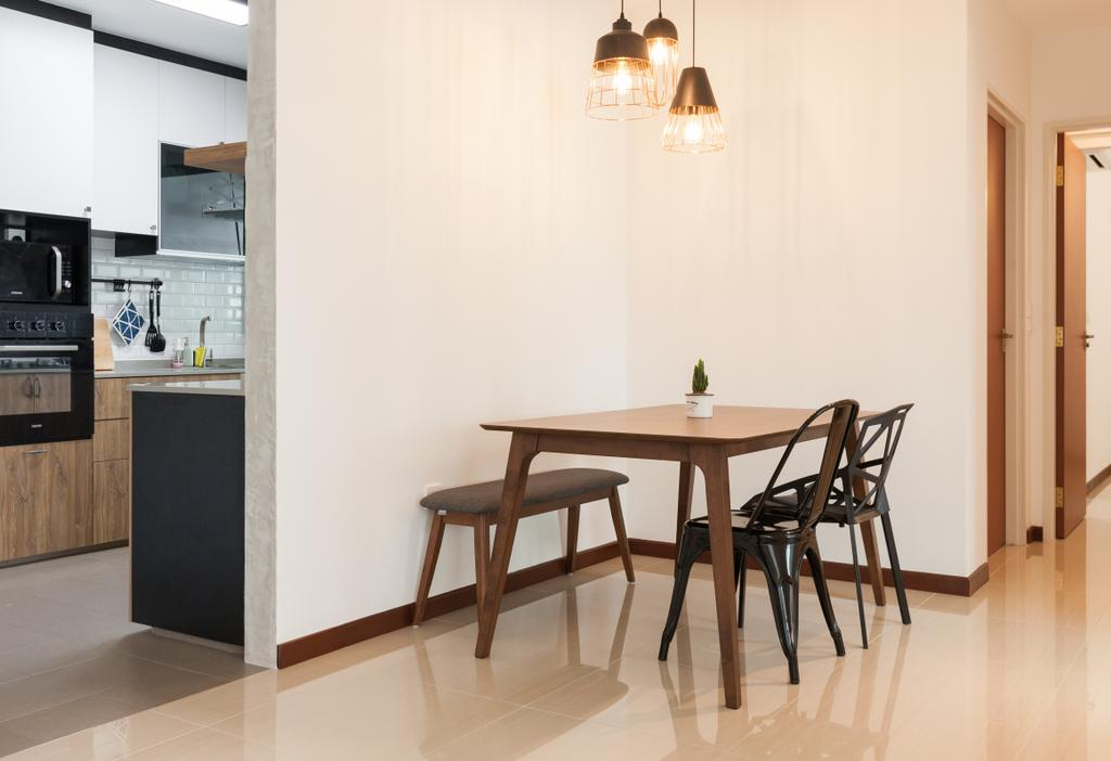 Scandinavian, HDB, Dining Room, Yishun Avenue 4, Interior Designer, Voila, Appliance, Electrical Device, Oven, Dining Table, Furniture, Table, Indoors, Interior Design, Room, Chair, Lamp
