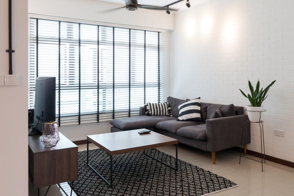 Scandinavian, HDB, Living Room, Yishun Avenue 4, Interior Designer, Voila, Couch, Furniture
