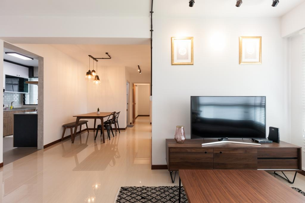 Scandinavian, HDB, Living Room, Yishun Avenue 4, Interior Designer, Voila, Dining Table, Furniture, Table, Indoors, Interior Design