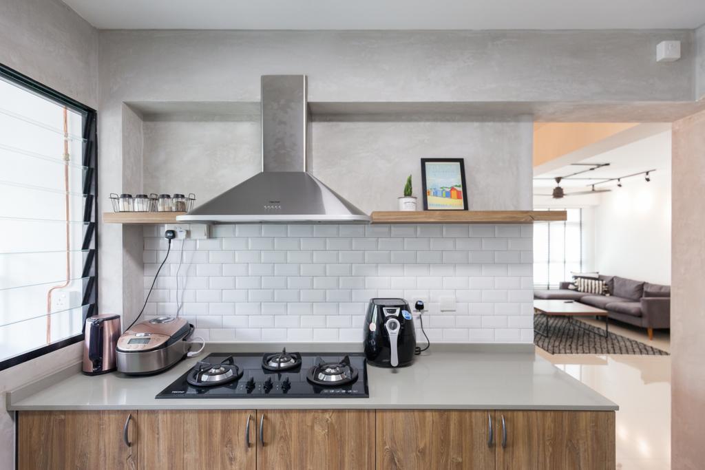 Scandinavian, HDB, Kitchen, Yishun Avenue 4, Interior Designer, Voila, Indoors, Interior Design, Room