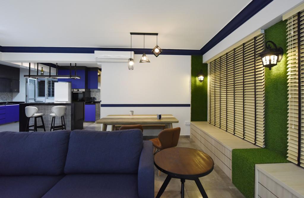 Eclectic, HDB, Living Room, Boon Lay Avenue (Block 218B), Interior Designer, Starry Homestead, Light Fixture, Couch, Furniture, Chair, Building, Housing, Indoors, Loft
