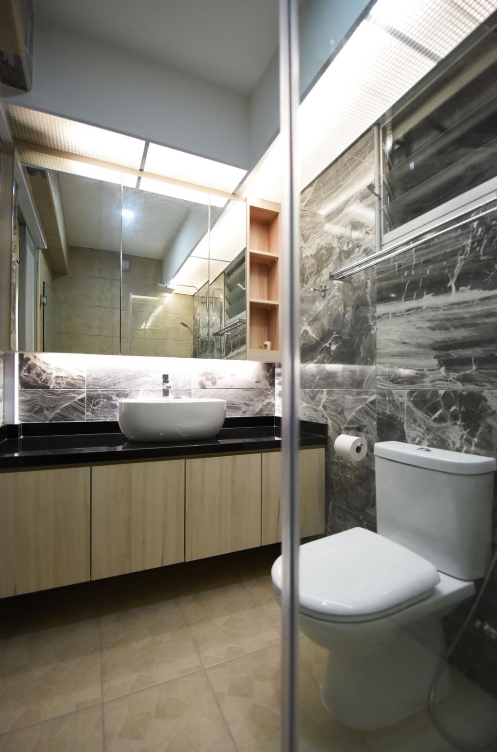 Eclectic, HDB, Bathroom, Boon Lay Avenue (Block 218B), Interior Designer, Starry Homestead, Paper, Paper Towel, Tissue, Toilet Paper, Towel, Bathtub, Tub