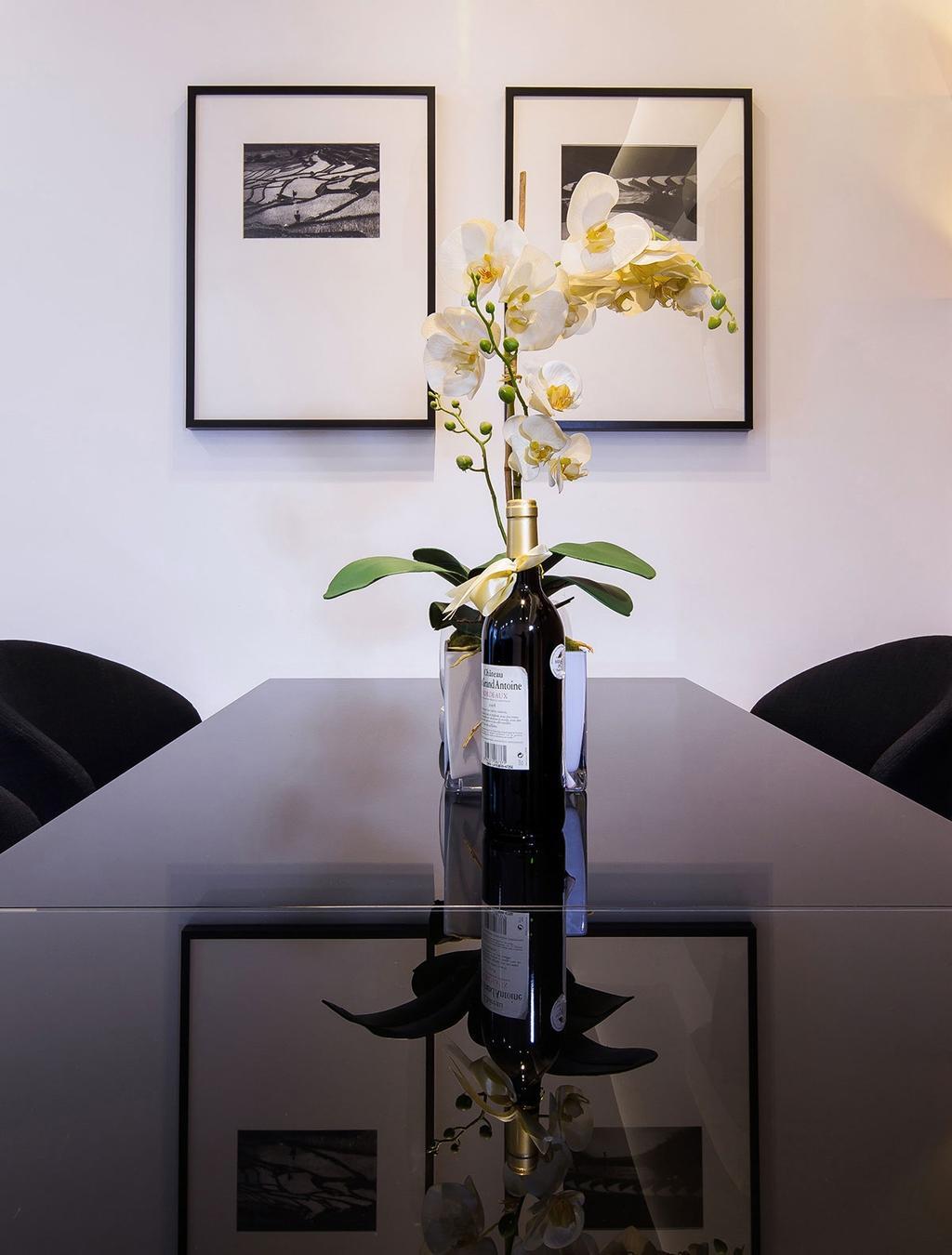 Modern, Condo, Dining Room, Nin Residence, Interior Designer, Icon Interior Design, Bottle, Flora, Jar, Plant, Potted Plant, Pottery, Vase