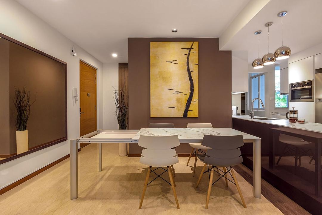 The Sunglade, Icon Interior Design, Minimalistic, Contemporary, Dining Room, Condo, Indoors, Room, Cardboard, Chair, Furniture, Dining Table, Table, Interior Design
