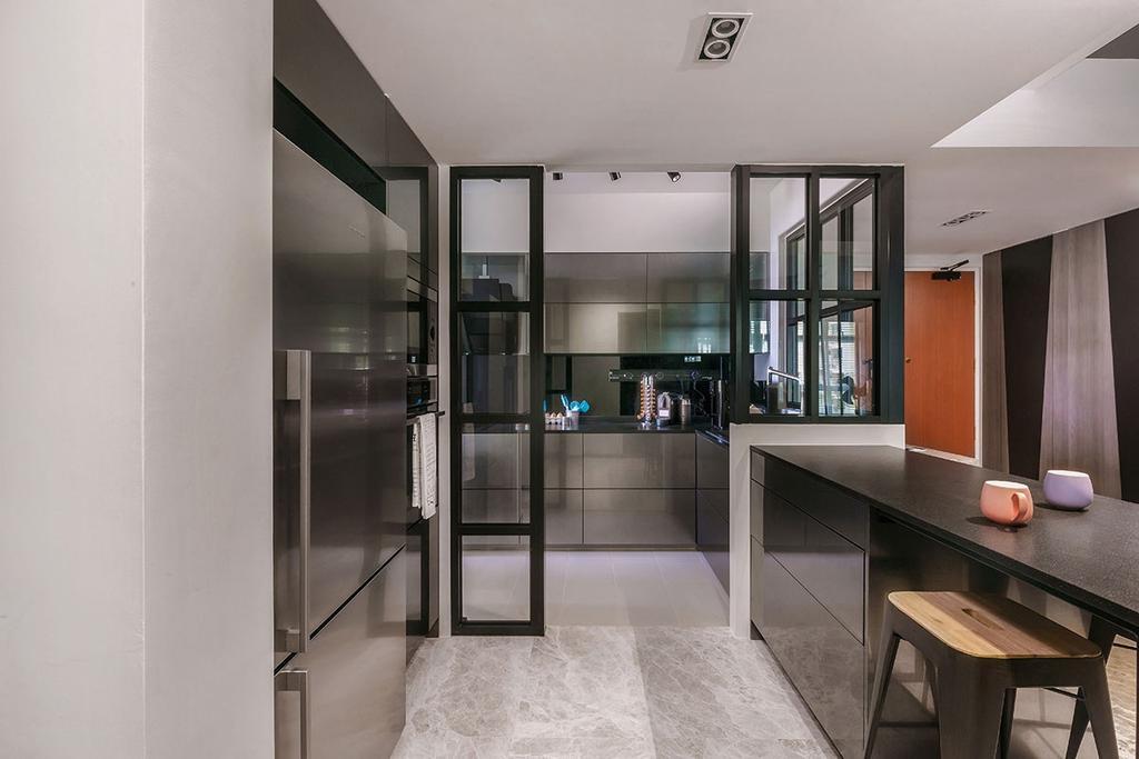 Contemporary, HDB, Dining Room, Matilda Portico (Block 217A), Interior Designer, Icon Interior Design, Dining Table, Furniture, Table, Building, Housing, Indoors, Loft, Bar Stool