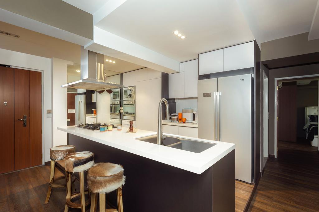 Modern, HDB, Kitchen, Matilda Portico (Block 217B), Interior Designer, Icon Interior Design, Bar Stool, Furniture, Flooring, Indoors, Interior Design, Room