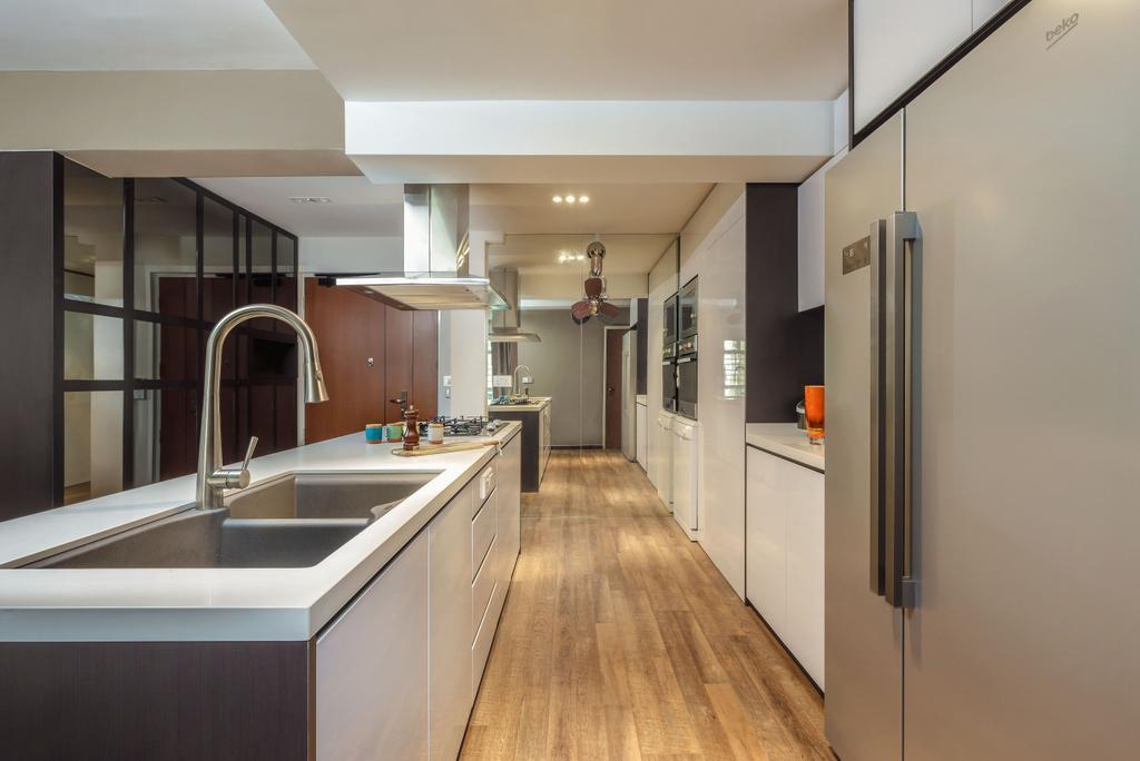 Modern, HDB, Kitchen, Matilda Portico (Block 217B), Interior Designer, Icon Interior Design, Sink, Flooring