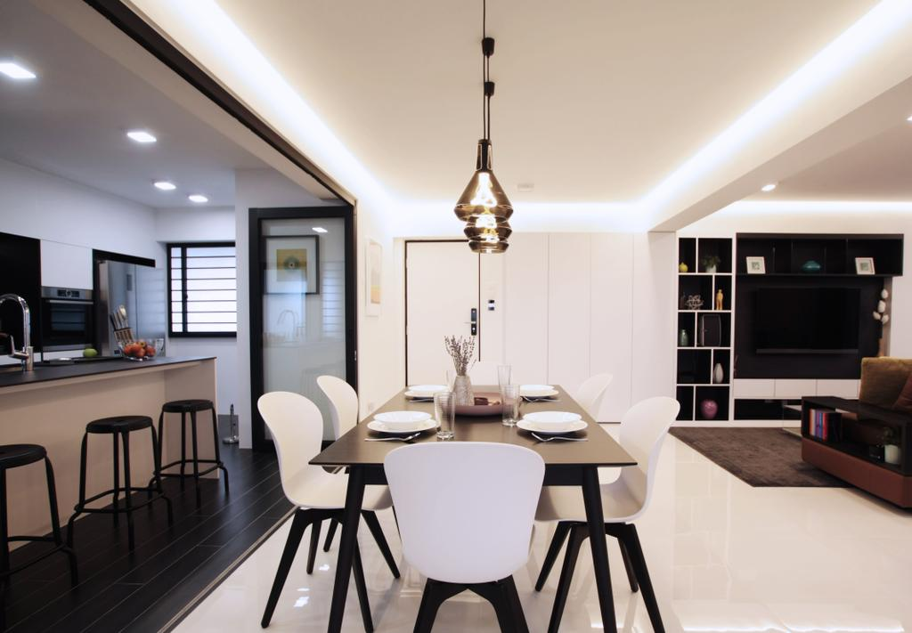 Modern, HDB, Dining Room, Pasir Ris, Interior Designer, Intrigue-d Design Consultancy, Contemporary, Indoors, Interior Design, Room, Dining Table, Furniture, Table, Chair, Couch