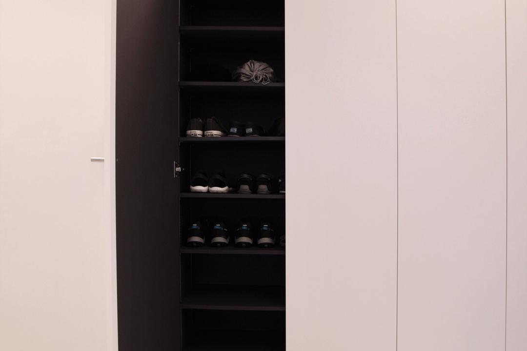 Pasir Ris, Intrigue-d Design Consultancy, Modern, Contemporary, Bedroom, HDB, Closet, Cupboard, Furniture