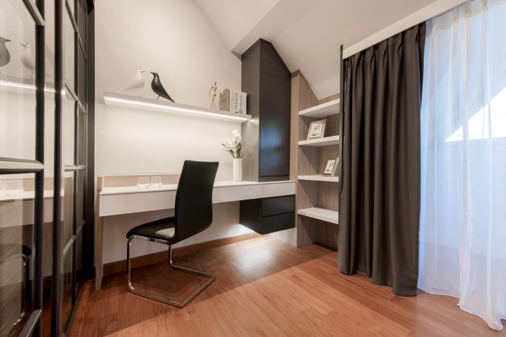 Modern, Condo, Study, Siglap V, Interior Designer, Anhans Interior Design, Chair, Furniture, Flooring, Bookcase
