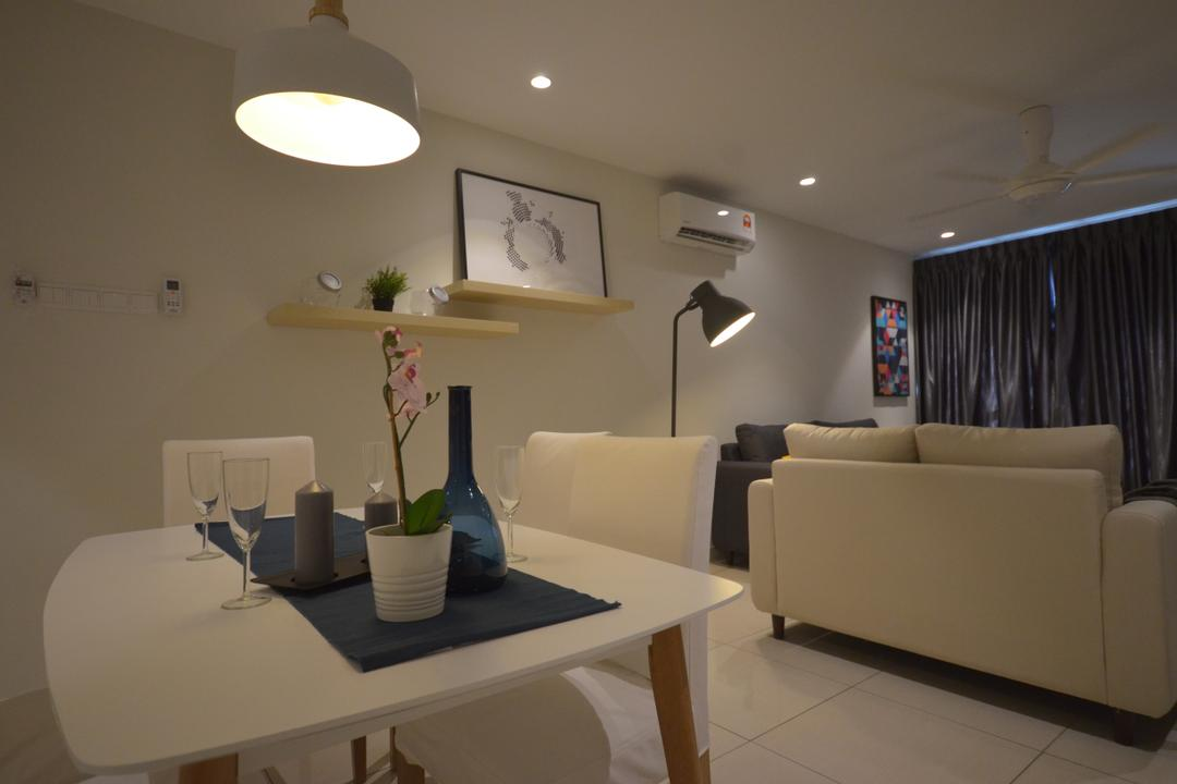 Maisson, Ara Damansara, Anwill Design Sdn Bhd, Modern, Minimalist, Condo, Couch, Furniture, White Board, Flora, Jar, Plant, Potted Plant, Pottery, Vase, Dining Table, Table, Apartment, Building, Housing, Indoors, Dining Room, Interior Design, Room