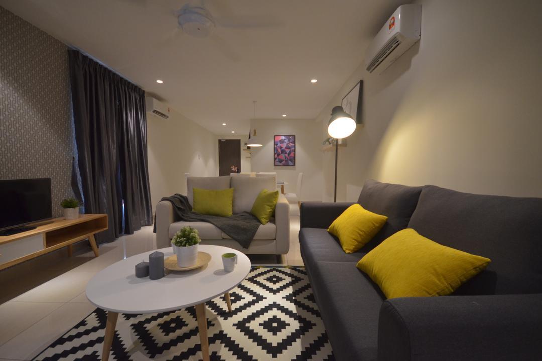Maisson, Ara Damansara, Anwill Design Sdn Bhd, Modern, Minimalistic, Condo, Couch, Furniture, Indoors, Room, Apartment, Building, Housing, Home Decor, Linen, Tablecloth