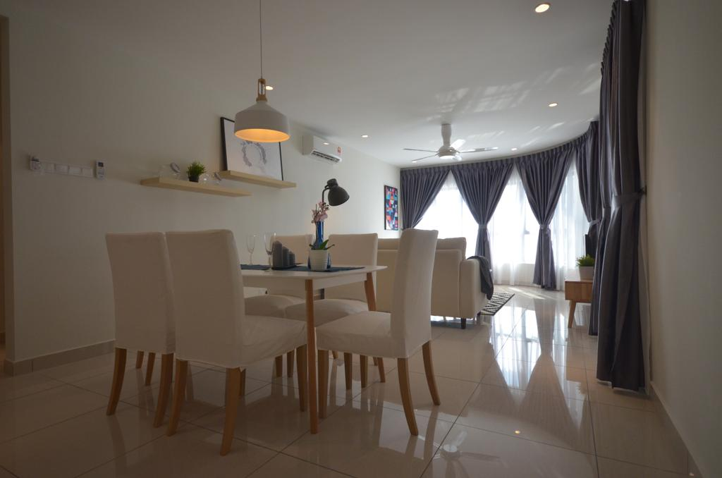 Modern, Condo, Maisson, Ara Damansara, Interior Designer, Anwill Design Sdn Bhd, Minimalistic, Chair, Furniture, Dining Room, Indoors, Interior Design, Room, Dining Table, Table, Light Fixture, Lamp