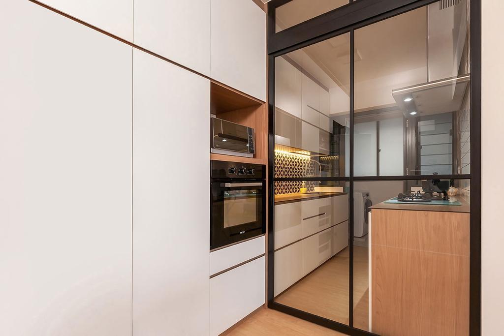 Scandinavian, HDB, Kitchen, Punggol Waterway Terrace (Block 308C), Interior Designer, Icon Interior Design, Appliance, Electrical Device, Oven, Door, Sliding Door