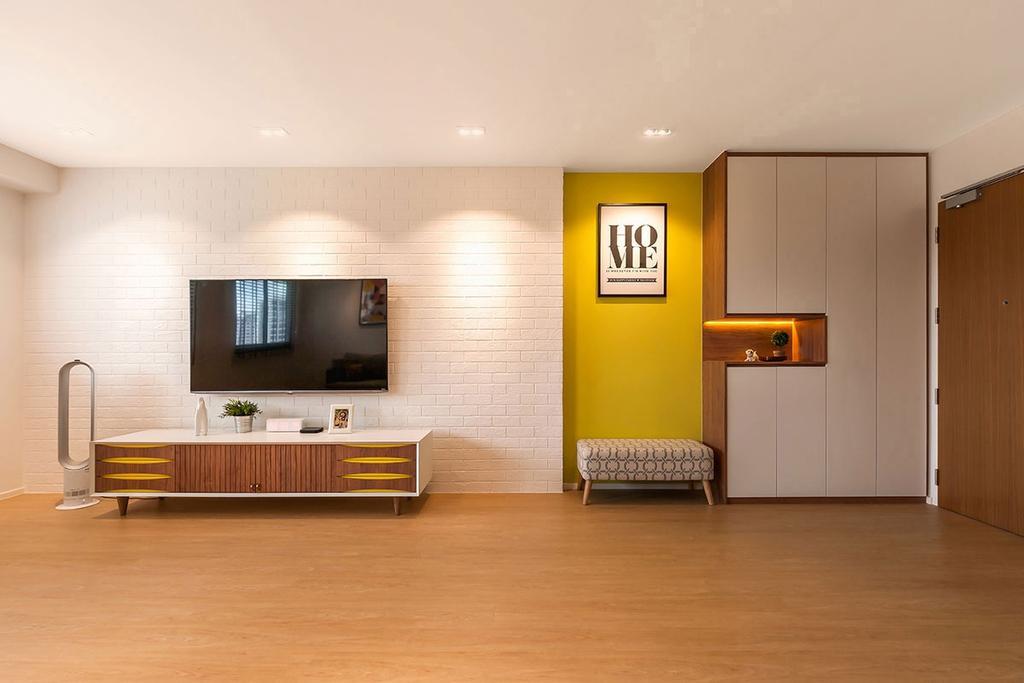 Scandinavian, HDB, Living Room, Punggol Waterway Terrace (Block 308C), Interior Designer, Icon Interior Design, Flooring, Chair, Furniture, Bathroom, Indoors, Interior Design, Room