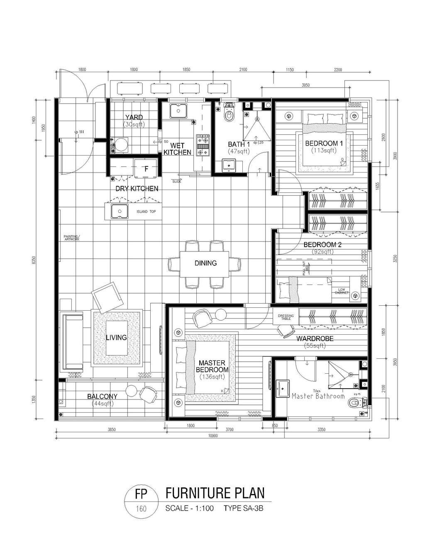 Contemporary, Condo, Adda Heights Show Unit (3B), Interior Designer, MODS Design, Diagram, Plan, Floor Plan