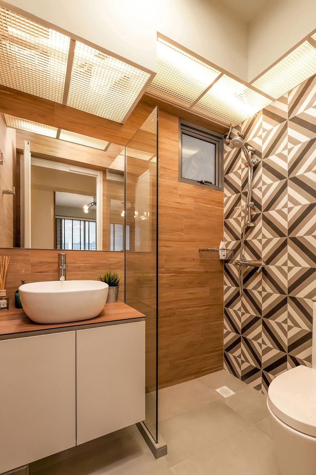 Scandinavian, HDB, Bathroom, Punggol Waterway Terrace (Block 308C), Interior Designer, Icon Interior Design, Molding, Paper, Indoors, Interior Design, Bowl