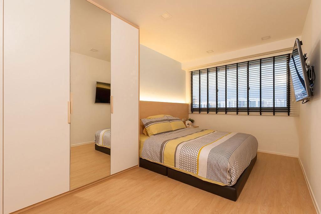 Scandinavian, HDB, Punggol Waterway Terrace (Block 308C), Interior Designer, Icon Interior Design, Bed, Furniture, Bedroom, Indoors, Interior Design, Room