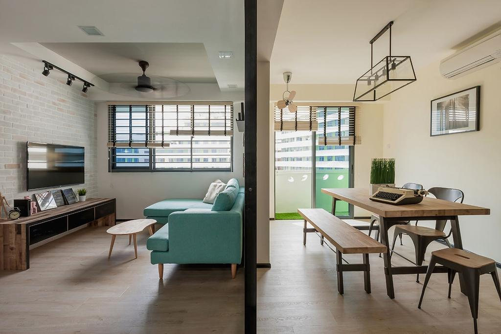 Minimalistic, HDB, Dining Room, Punggol Walk (Block 310B), Interior Designer, Icon Interior Design, Contemporary, Couch, Furniture, Chair, Dining Table, Table, Indoors, Room