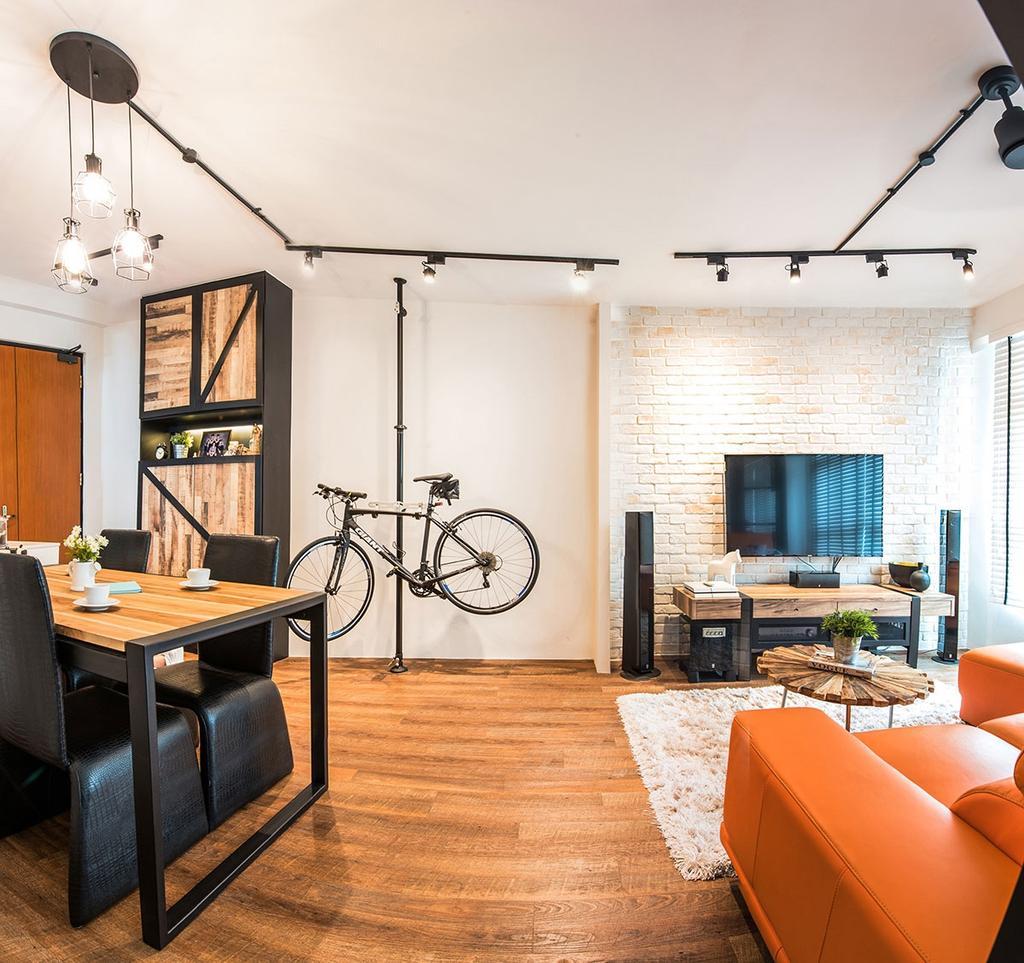 Industrial, HDB, Living Room, Yishun Avenue 9 (Block 318C), Interior Designer, Icon Interior Design, Chair, Furniture, Dining Table, Table, Indoors, Interior Design, Bicycle, Bike, Mountain Bike, Transportation, Vehicle