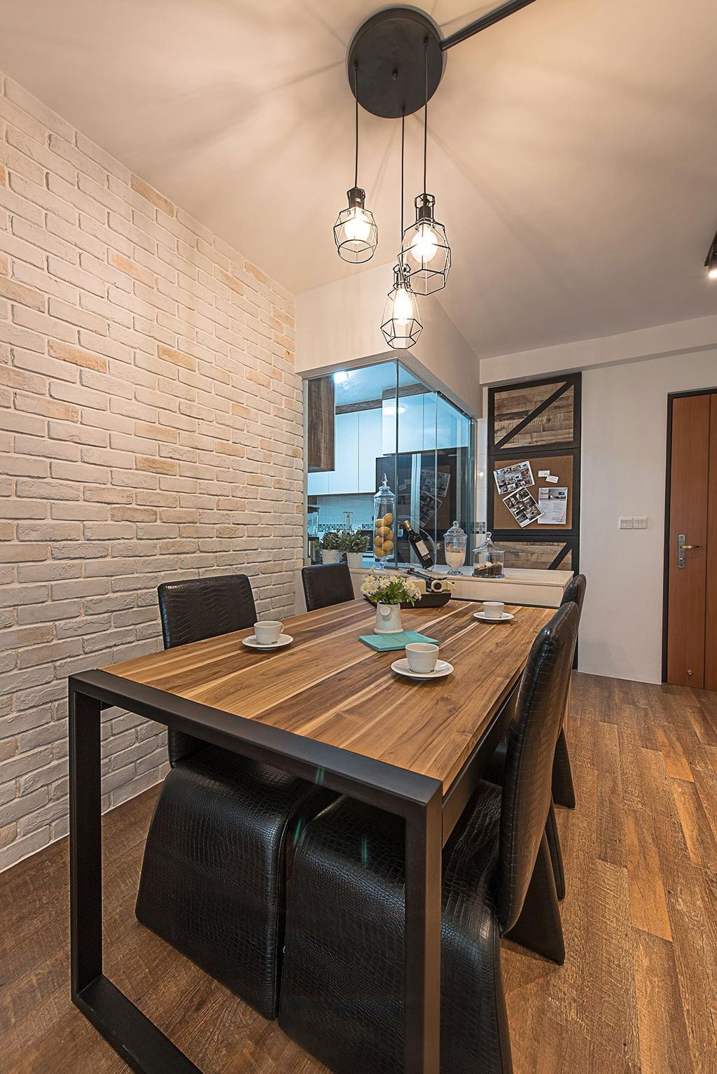 Industrial, HDB, Dining Room, Yishun Avenue 9 (Block 318C), Interior Designer, Icon Interior Design, Indoors, Interior Design, Room, Dining Table, Furniture, Table, Sink