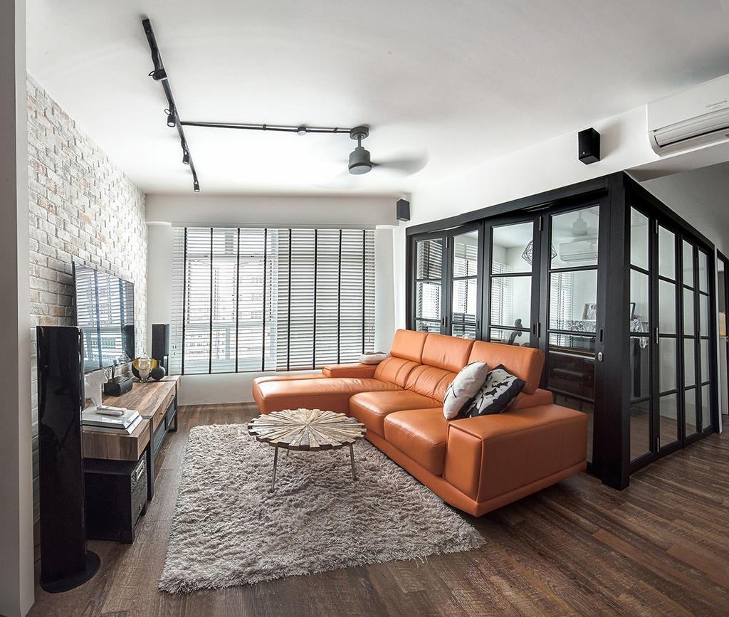 Industrial, HDB, Living Room, Yishun Avenue 9 (Block 318C), Interior Designer, Icon Interior Design, Couch, Furniture