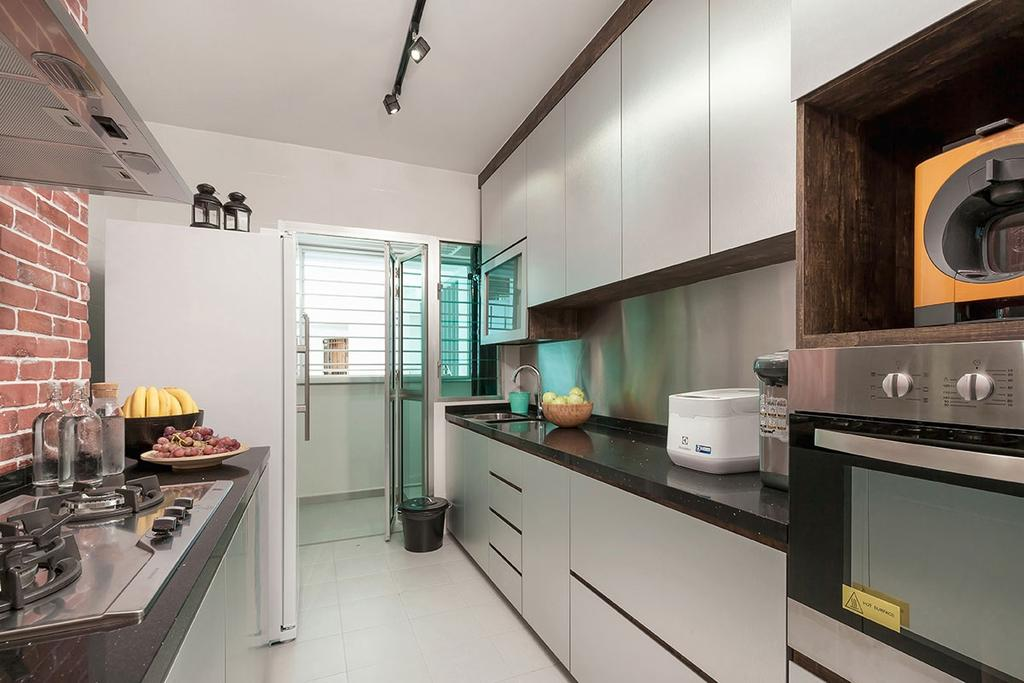 Industrial, HDB, Kitchen, Anchorvale Street (Block 329B), Interior Designer, Icon Interior Design, Appliance, Electrical Device, Oven