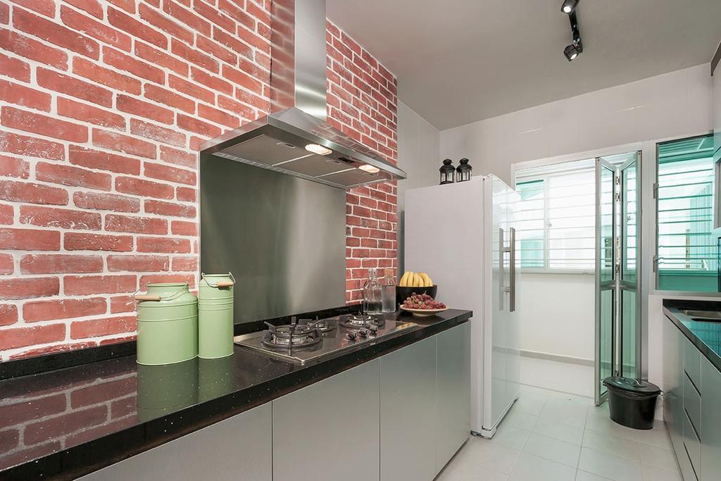 Industrial, HDB, Kitchen, Anchorvale Street (Block 329B), Interior Designer, Icon Interior Design, Indoors, Interior Design