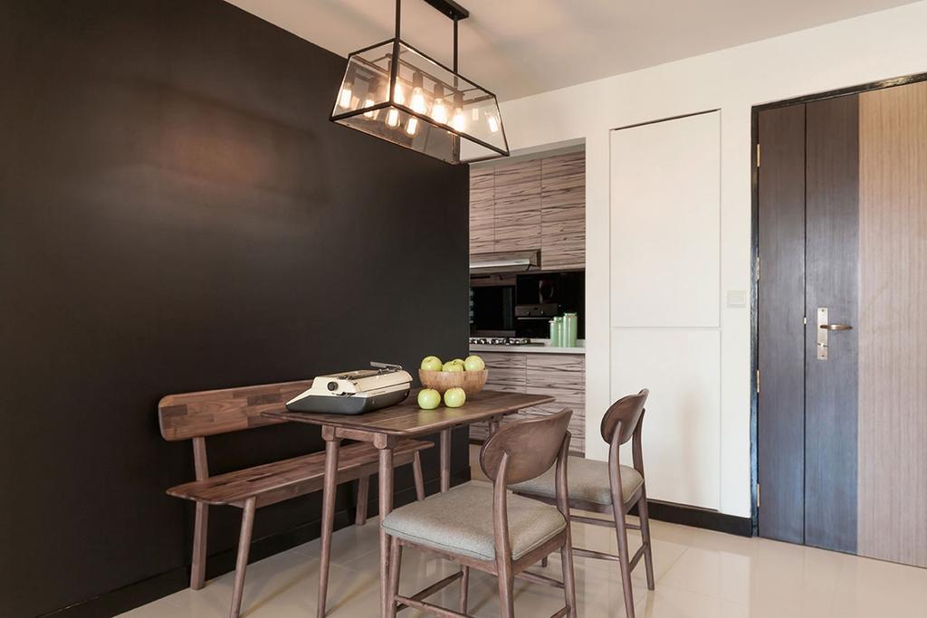Modern, HDB, Dining Room, Anchorvale Crescent (Block 336D), Interior Designer, Icon Interior Design, Bar Stool, Furniture, Indoors, Interior Design, Room, Building, Housing, Loft, Chair, Dining Table, Table