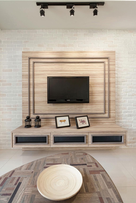 Modern, HDB, Living Room, Anchorvale Crescent (Block 336D), Interior Designer, Icon Interior Design, Electronics, Lcd Screen, Monitor, Screen, Entertainment Center